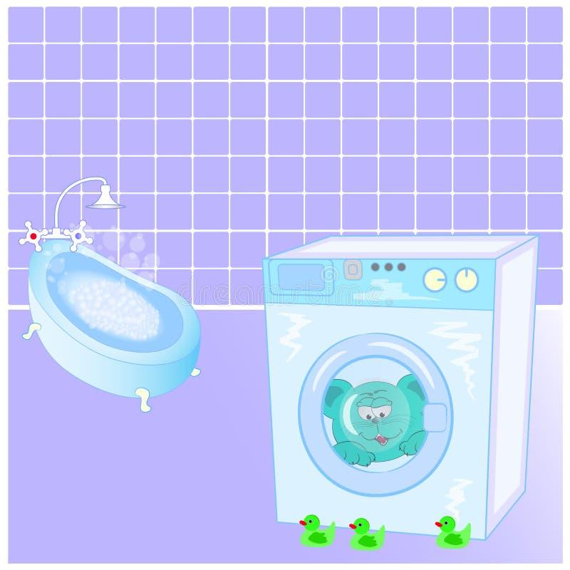 Gato y patos en el cuarto de baño ilustración del vector