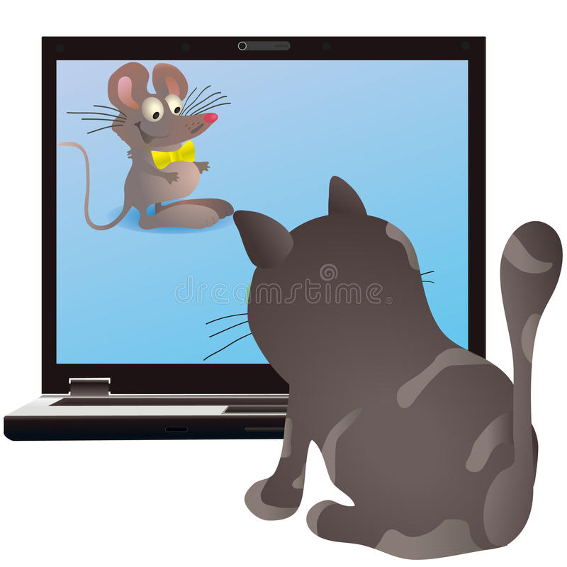 Gato y pequeño ratón en la pantalla del cuaderno libre illustration