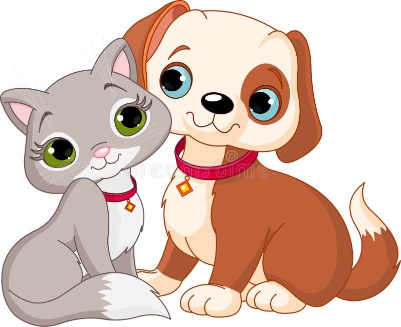 Gato y perro stock de ilustración