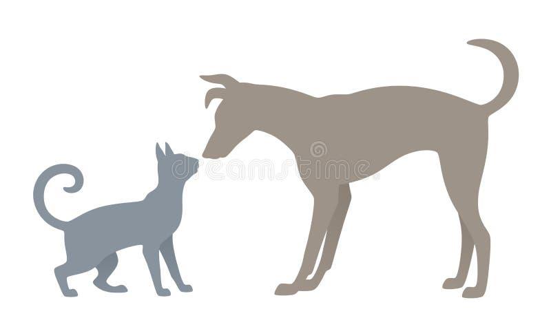 Gato y perro ilustración del vector