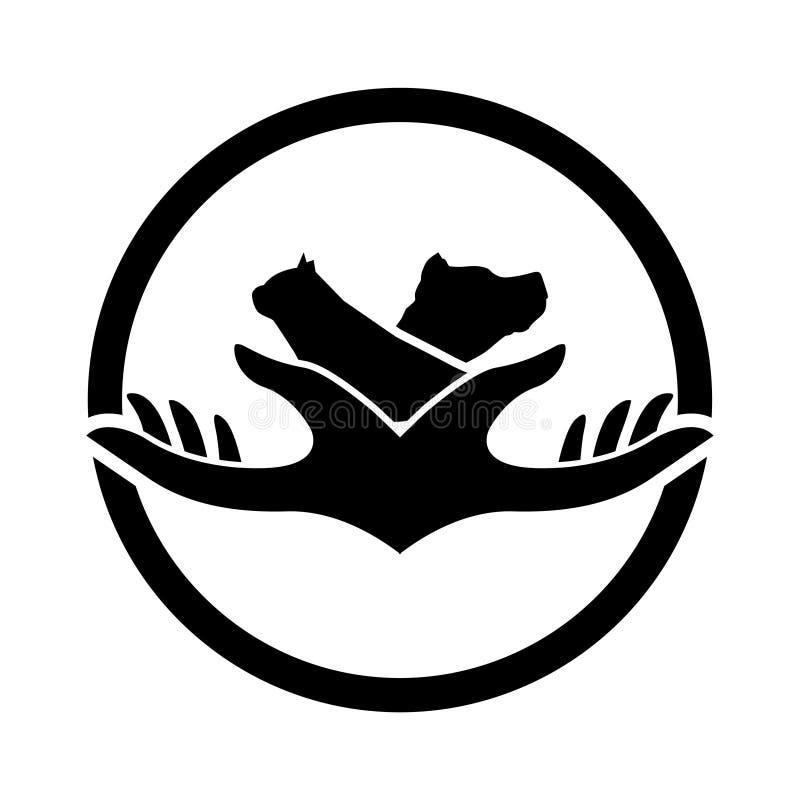 Gato y perro del logotipo Fondo blanco aislado libre illustration