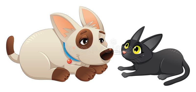 Gato y perro encantadores stock de ilustración