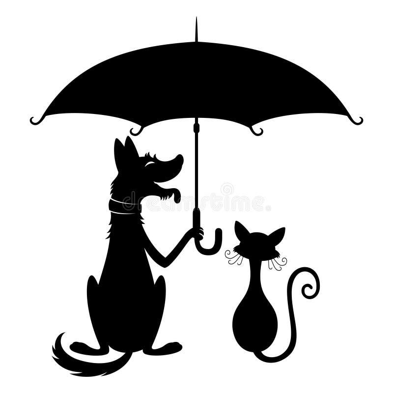 Gato y perro lindos ilustración del vector