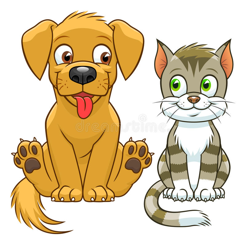 Gato y perro lindos de la historieta libre illustration
