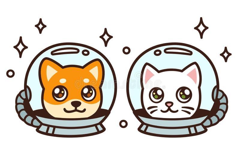 Gato y perro lindos del espacio de la historieta ilustración del vector