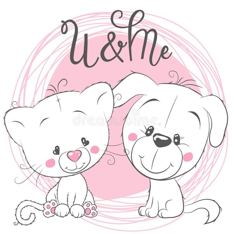 Gato y perro lindos en un fondo rosado ilustración del vector