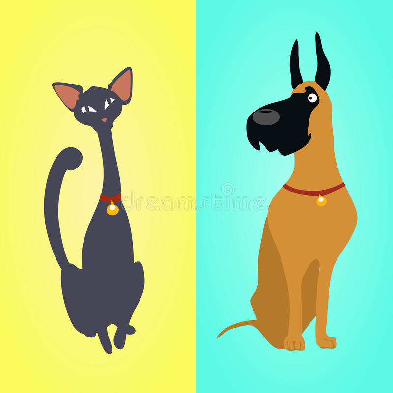 Gato y perro que se sientan en diversos fondos stock de ilustración