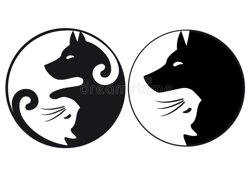Gato y perro, vector del símbolo de Yin yang ilustración del vector