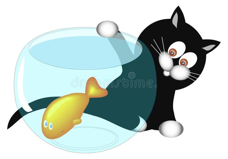 Download Gato y pescados ilustración del vector. Ilustración de pesca - 1285442