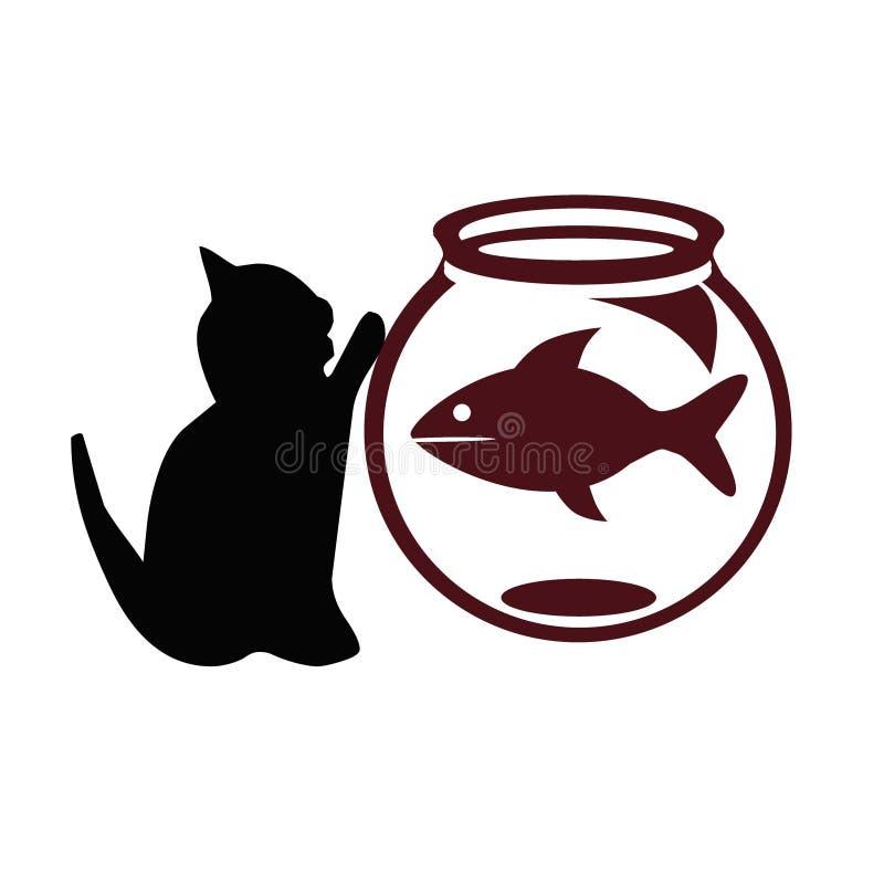 Gato y pescados stock de ilustración