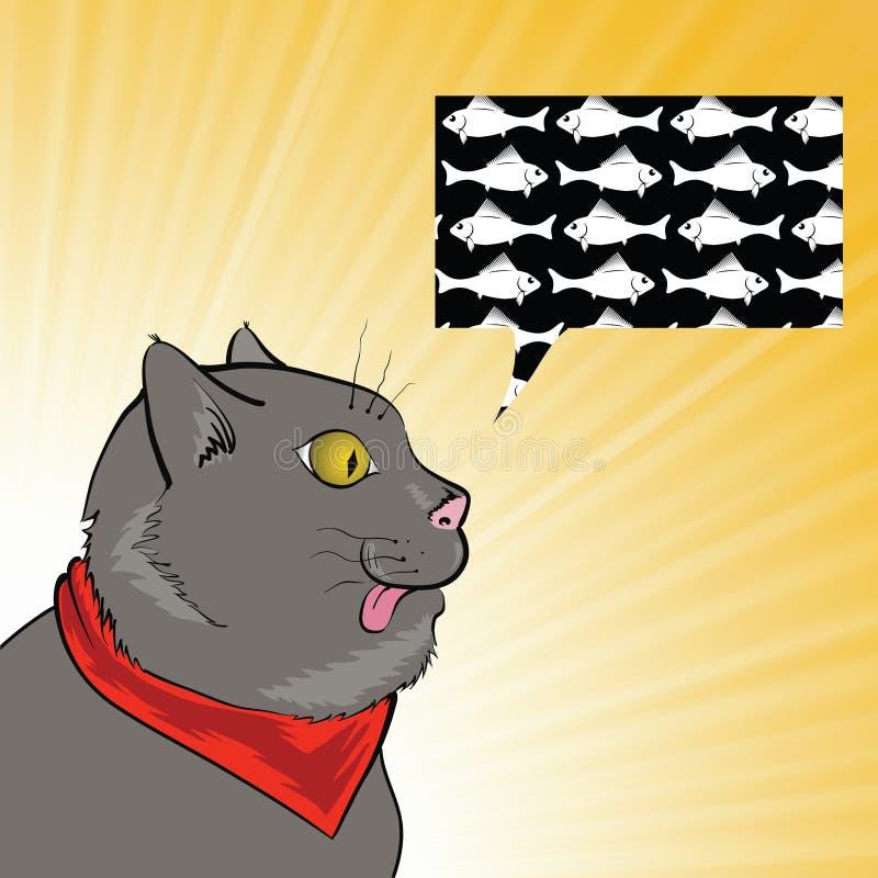 gato y pescados ilustración del vector