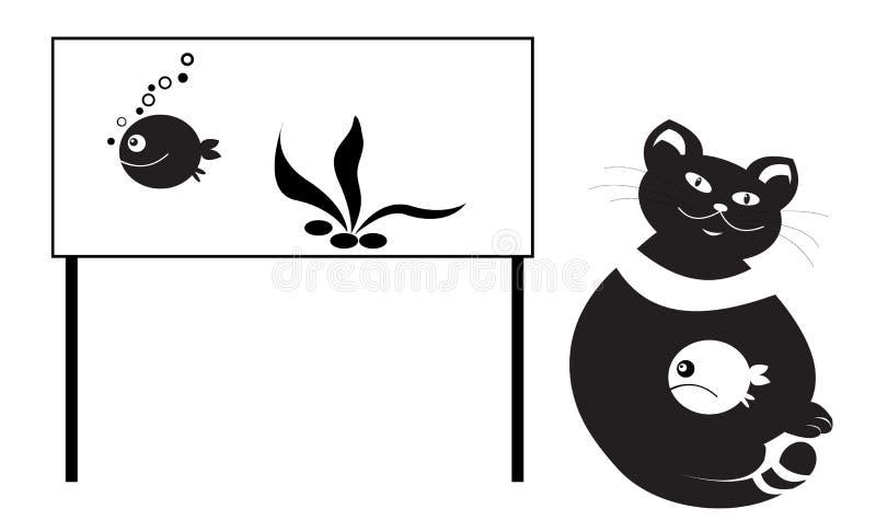 Gato y pescados en acuario ilustración del vector