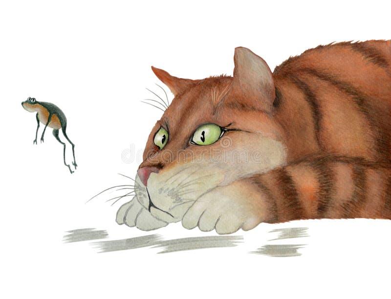 Gato y rana rojos libre illustration