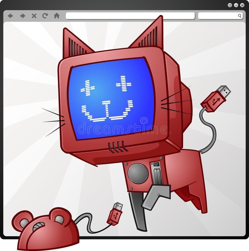 Gato y ratón del Internet stock de ilustración