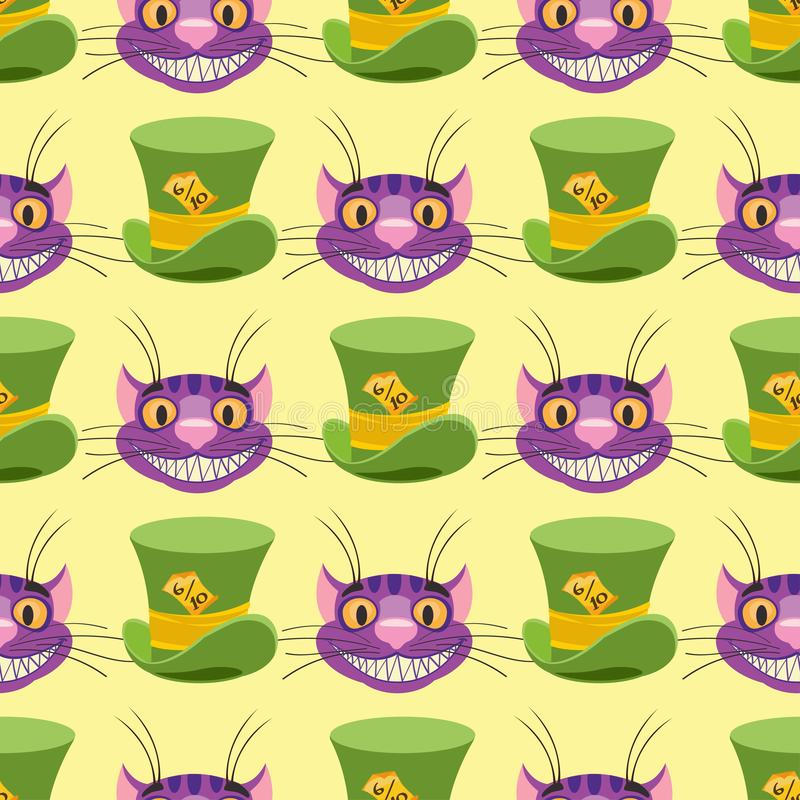 Gato y sombrero de Cheshire El modelo incons?til se puede utilizar para el papel pintado, terraplenes de modelo, fondo del Web pa ilustración del vector