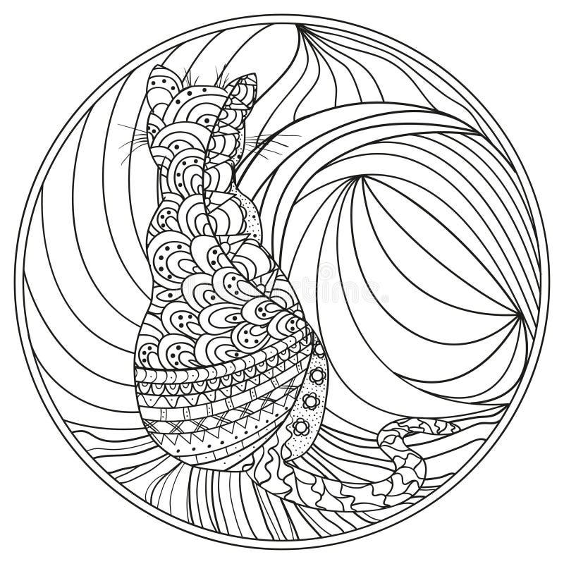 Gato Zendala Zentangle del diseño stock de ilustración