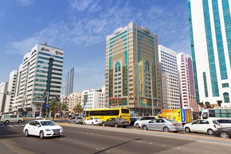 Gator av Abu Dhabi, huvudstad av Förenade Arabemiraten arkivbild