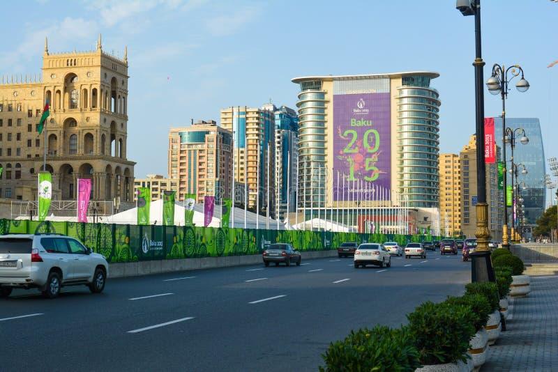 Gator av Baku, den 1st europén spelar i Baku fotografering för bildbyråer