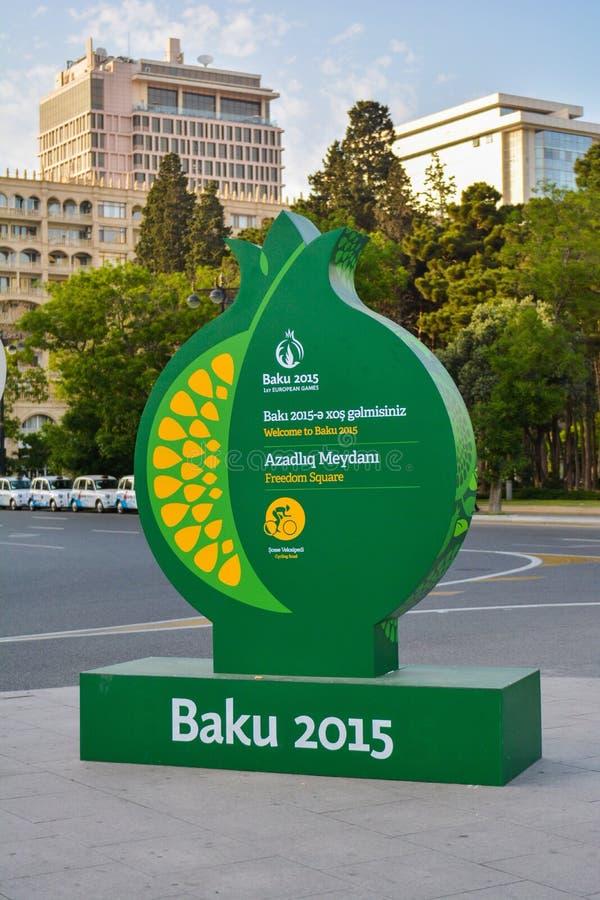 Gator av Baku, den 1st europén spelar i Baku, affisch på gatan royaltyfri foto