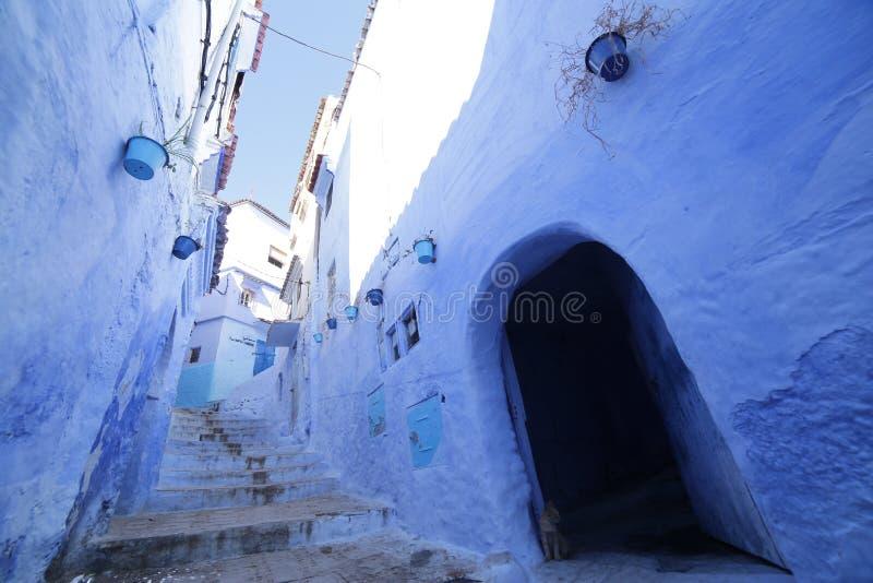 Gator av Chefchaouen Marocko fotografering för bildbyråer
