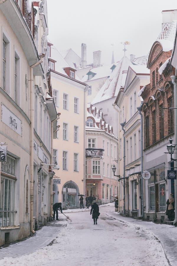 Gator av den gamla staden för Tallinn ` s på en snöig dag royaltyfri bild