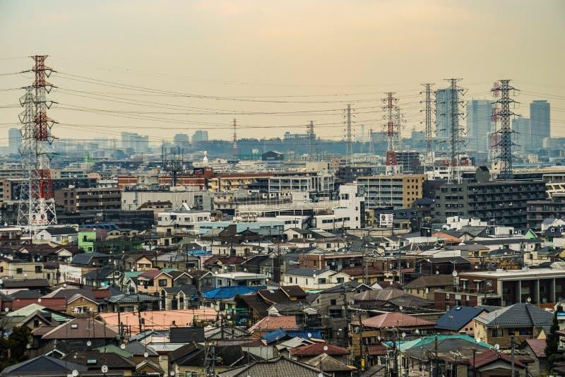 Gator av Kawasaki City, som är synlig från Meiyuan Okurayama royaltyfria bilder