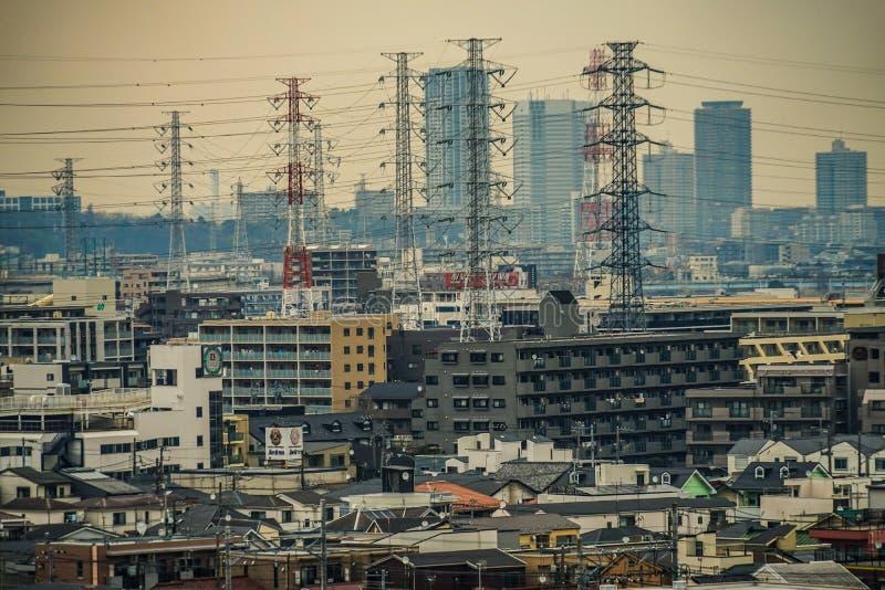 Gator av Kawasaki City, som är synlig från Meiyuan Okurayama royaltyfri foto