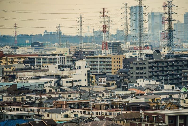 Gator av Kawasaki City, som är synlig från Meiyuan Okurayama arkivfoton