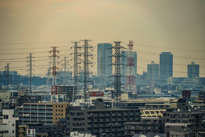 Gator av Kawasaki City, som är synlig från Meiyuan Okurayama royaltyfria foton
