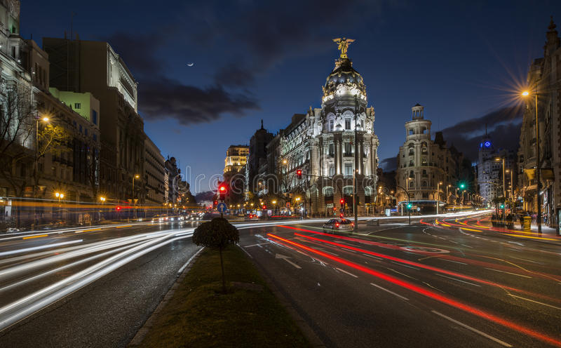 Gator av Madrid royaltyfri fotografi