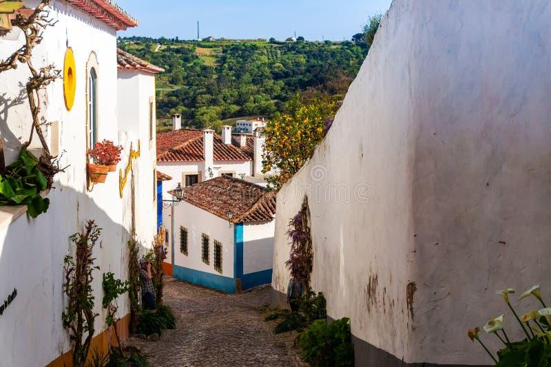 Gator av Obidos portugal Turist- destination i Portugal royaltyfria foton