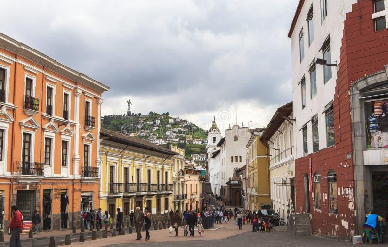 Gator av Quitocentralen, Ecuador arkivfoton