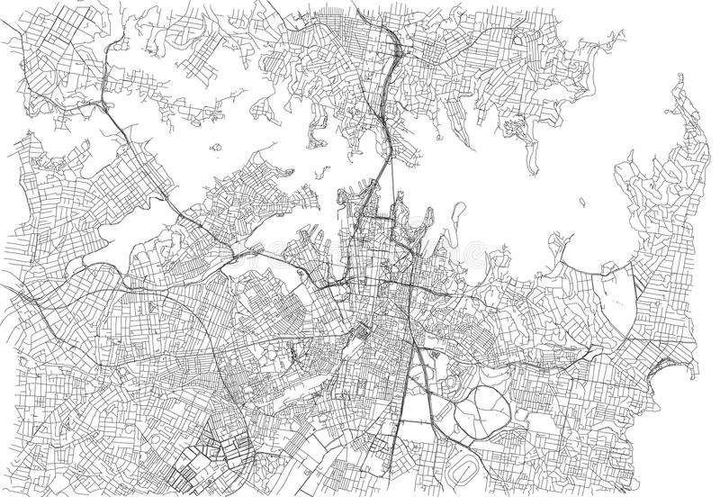 Gator av Sydney, stadsöversikt, Australien royaltyfri illustrationer