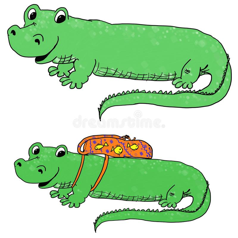 Gator with a backpack vector illustration