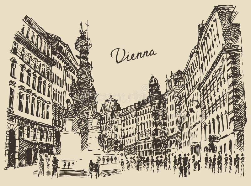 Gator i Wien Österrike den hand drog illustrationen stock illustrationer