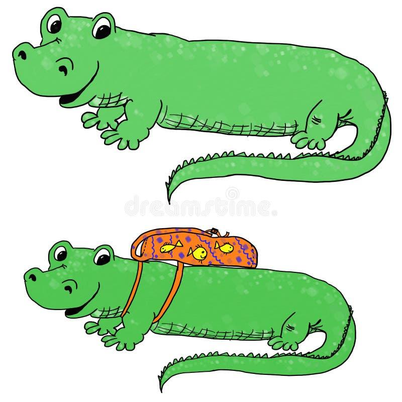Gator met een rugzak vector illustratie
