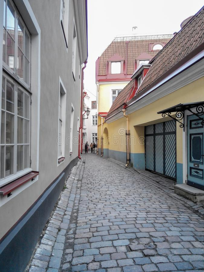 Gator och gammal stadarkitekturestländare, Tallinn, Estland royaltyfria bilder