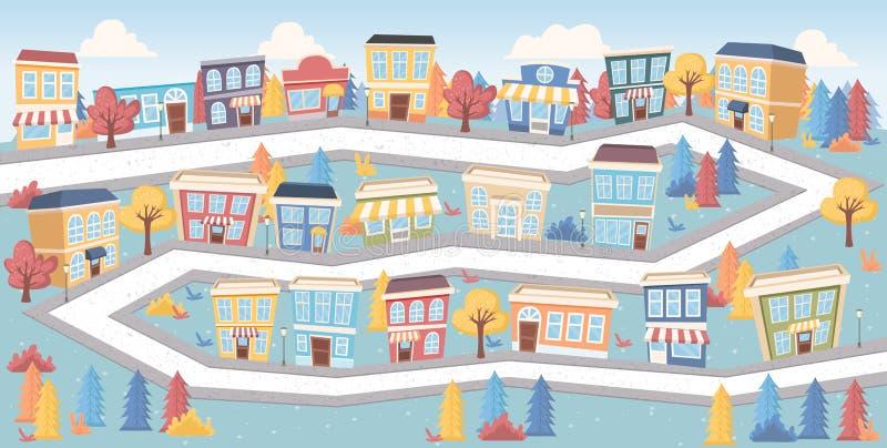 Gator på en färgrik stad vektor illustrationer