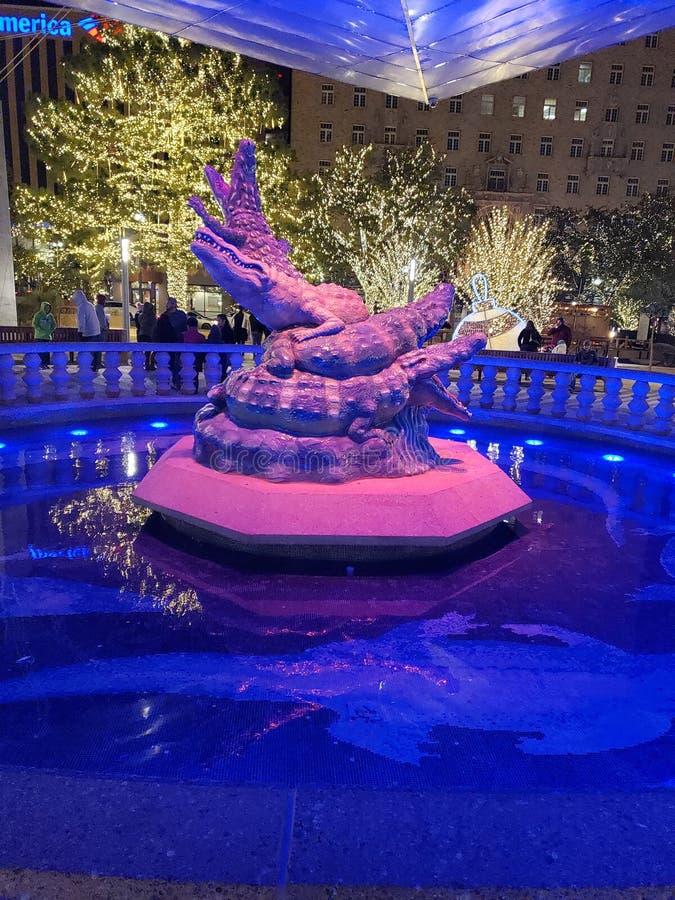 Gator statue. Beautiful, texas, lights royalty free stock photography
