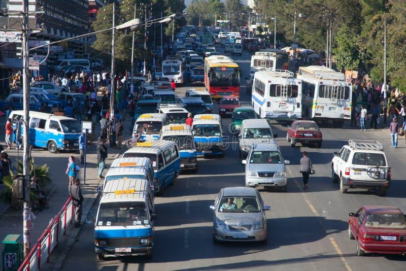 Gatorna av Addis Ababa Ethiopia arkivbild