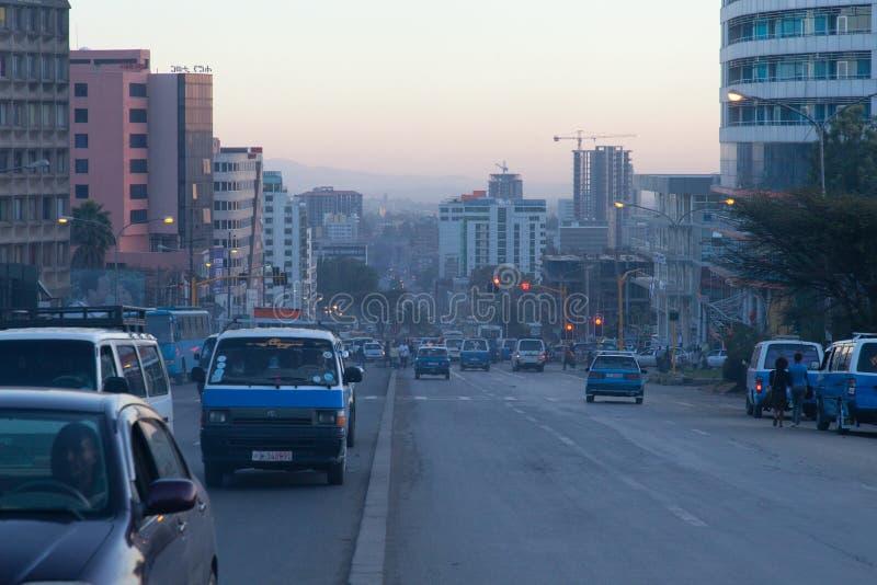 Gatorna av Addis Ababa Ethiopia royaltyfri bild