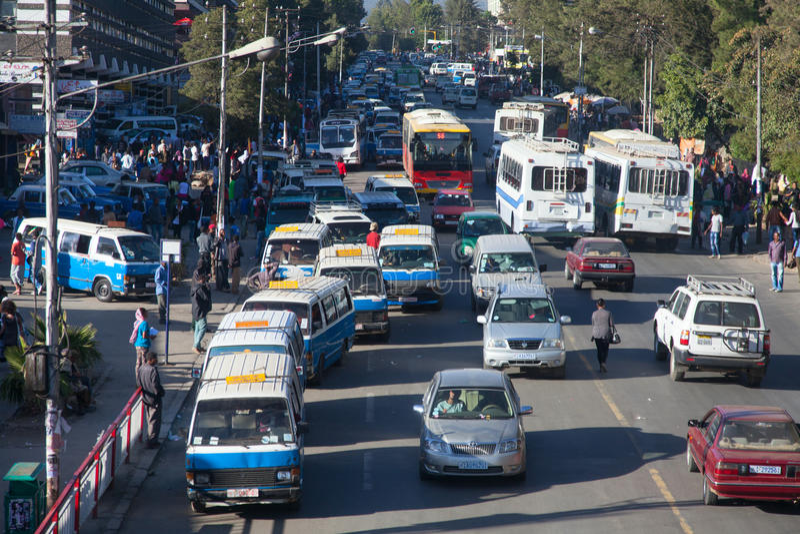 Gatorna av Addis Ababa Ethiopia arkivfoton
