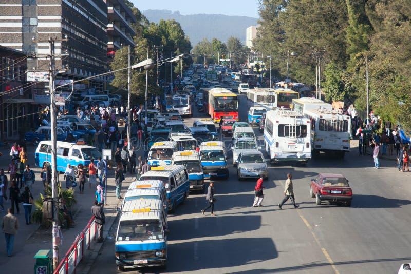 Gatorna av Addis Ababa Ethiopia royaltyfria foton