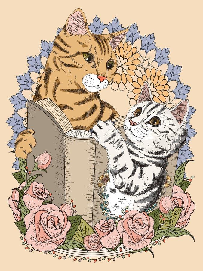 Gatos adorables que colorean la página ilustración del vector
