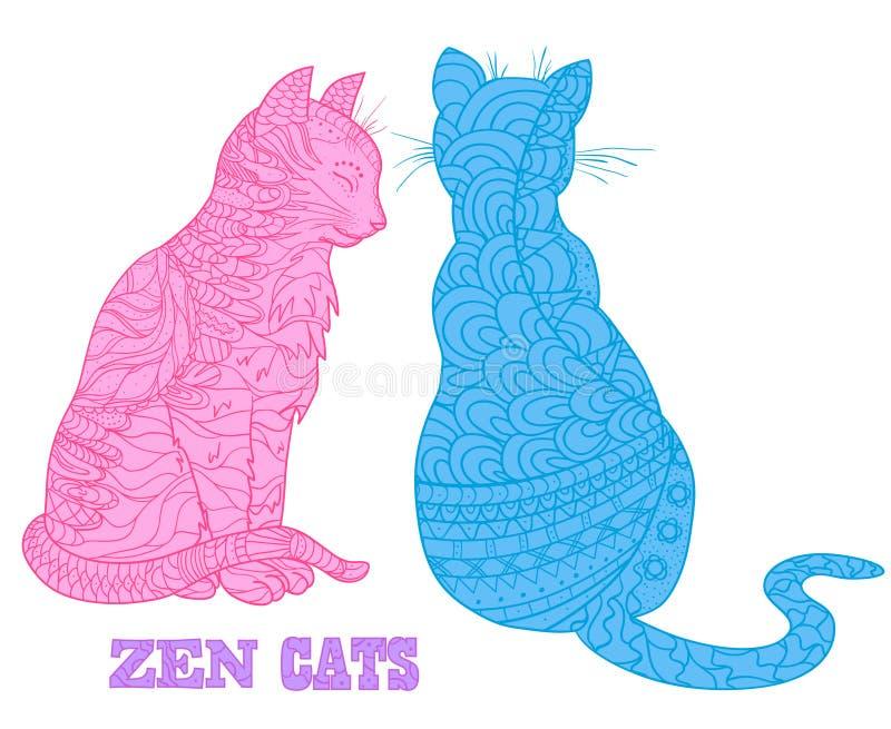 gatos Arte del zen stock de ilustración