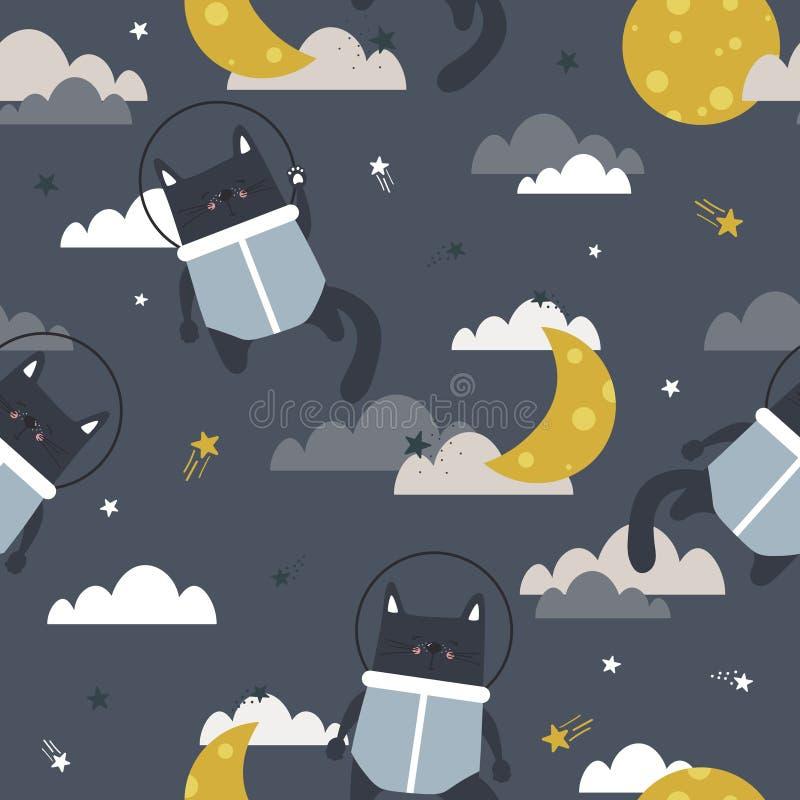 Gatos - astronautas, lua, nuvens e estrelas, teste padrão sem emenda colorido Fundo bonito decorativo com animais e céu ilustração do vetor