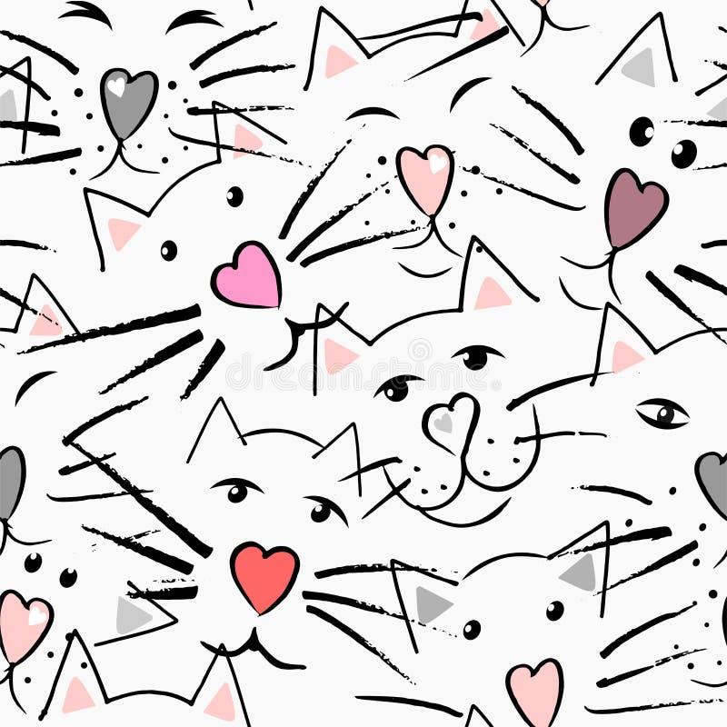 Gatos bigode e nariz na forma do coração, dos olhos e das orelhas ilustração royalty free