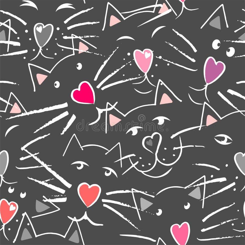 Gatos bigote y nariz en la forma del corazón, de los ojos y de los oídos stock de ilustración