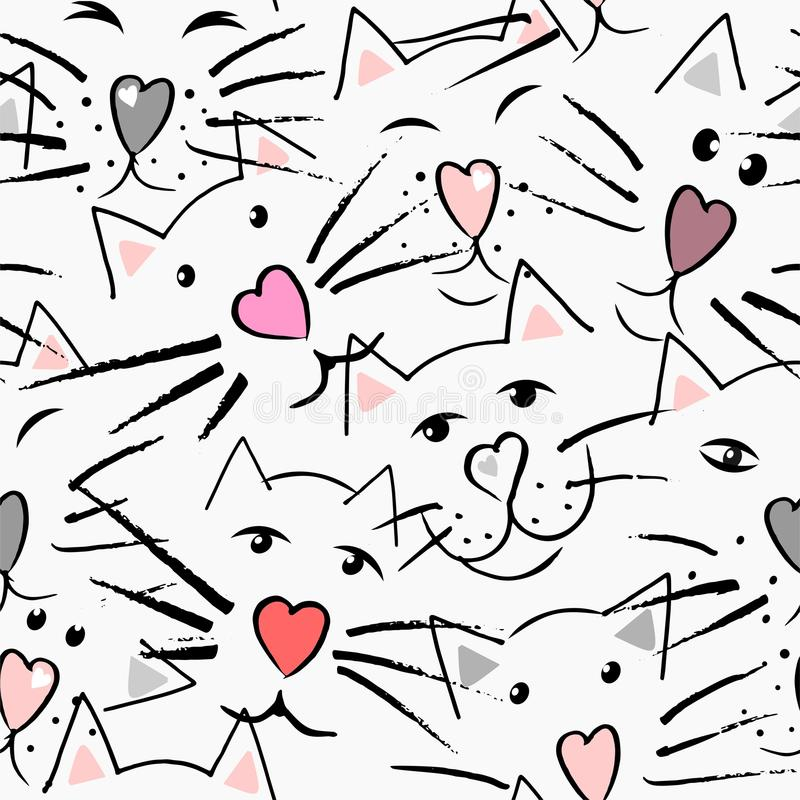 Gatos bigote y nariz en la forma del corazón, de los ojos y de los oídos libre illustration