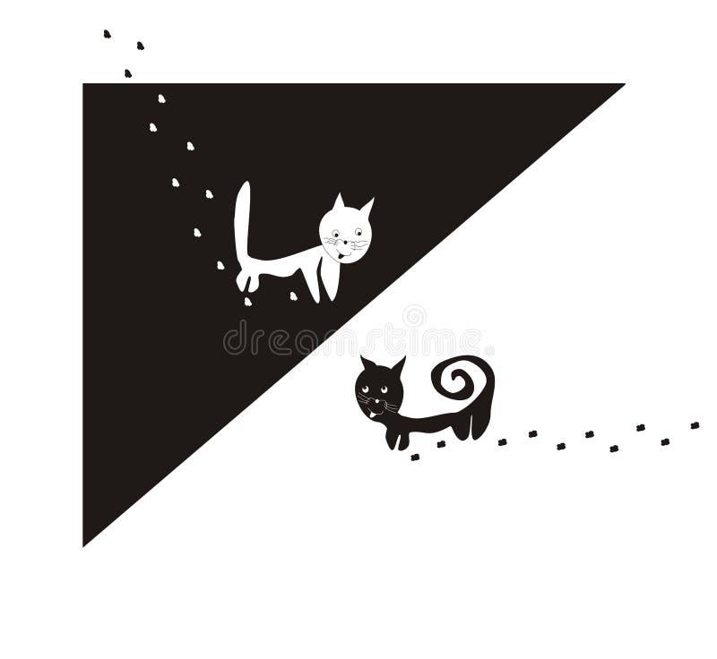 Download Gatos: blanco y negro ilustración del vector. Ilustración de alegría - 7275658
